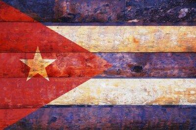 Obraz Kuba flagi w stare drewniane.