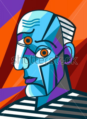 Obraz kubista wielki malarz malowanie twarzy portret
