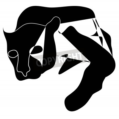 Obraz Kubizm czarna sylwetka czarnego pantera