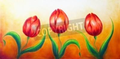 Obraz Kwiat napędowej, trzy tańczyć czerwone kwiaty tulipan, piękne jasne kolorowe malowanie na tle ocre