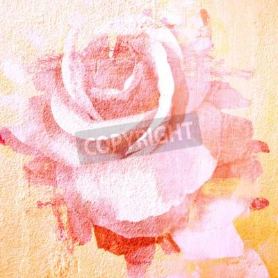 Obraz Kwiat piękna róża, farby sztuki ilustracji na tle