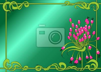 Kwiatowy ornament na zielonym tle