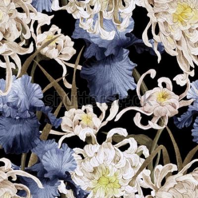 Obraz Kwiatowy wzór z chryzantemy i tęczówki, akwarela