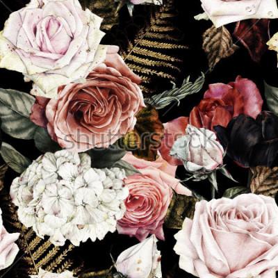Obraz Kwiatowy wzór z róż, akwarela.