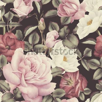 Obraz Kwiatowy wzór z różami, akwarela