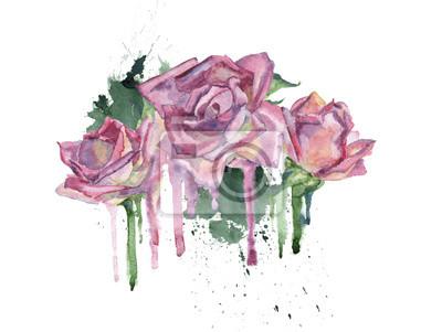 Kwiaty akwarela. Element dekoracyjny trzy różowe róże.