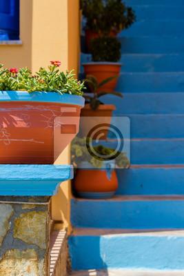 Kwiaty przed greckimi schodach