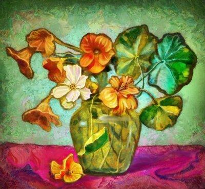 Obraz kwiaty szklanym wazonie