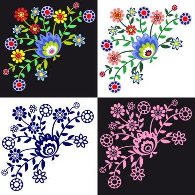 Obraz kwieciste wzory ludowe