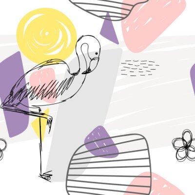 Obraz Kwiecisty abstrakcjonistyczny geometryczny bezszwowy wzór z flamingiem.