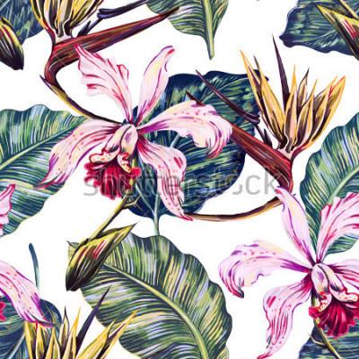 Obraz Kwiecisty bezszwowy tropikalny wzór, lata tło z egzotycznymi kwiatami, palmowymi liśćmi, dżungla liściem, orchideą, ptaka raju kwiat. Tapeta botaniczna, ilustracja w stylu hawajskim
