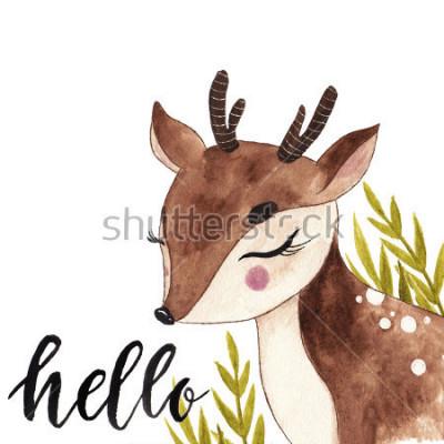 Obraz Ładny akwarela jelenia. Pocztówka z napisem