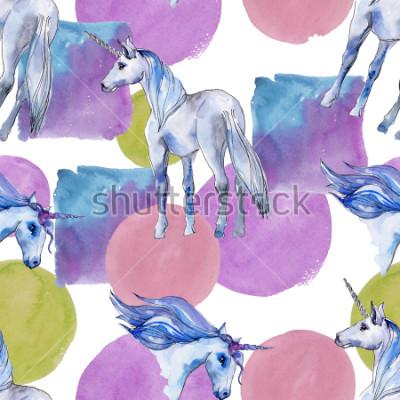 Obraz Ładny jednorożec konia. Bajkowe dzieci słodki sen. Tęczowy wzór zwierzęcy róg z tłem. Tekstura tkanina tapeta. Aquarelle dzikie zwierzę dla tła, tekstury, wzór opakowania.