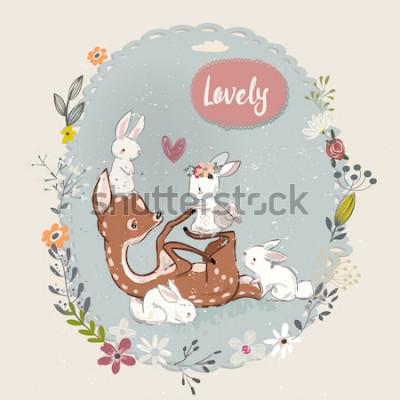 Obraz ładny letni jeleń z zajęcy