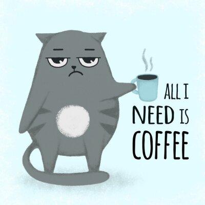 Obraz Ładny niebieski kreskówka wyciągnąć rękę kota z filiżanką kawy. Kot trzyma filiżankę.
