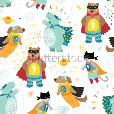 Obraz ładny ręcznie dzieci superbohatera wzór z psem, kot, niedźwiedź i hipopotam