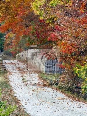 Lane Kraj Jesień z bele siana, ogrodzenia i bramy