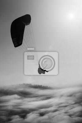 Obraz Latanie paralotni. Czarny i biały