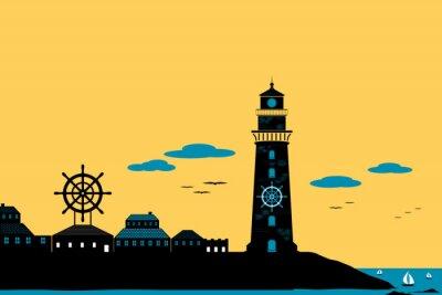 Obraz Latarnia morska i Miasto sylwetka Krajobraz wektor