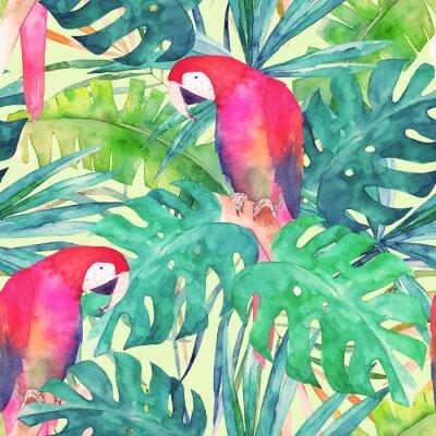 Obraz Lato bezszwowe wzór z akwarelą papugą, liści palmowych. Kolorowe ilustracji