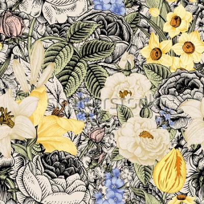 Obraz Lato bezszwowy kwiecisty wzór. Vintage kwiaty Art. Kwiaty róż, białe i żółte lilie, żonkile, tulipany i niebieskie delphinium i zapomnij na beżowym i czarnym tle.