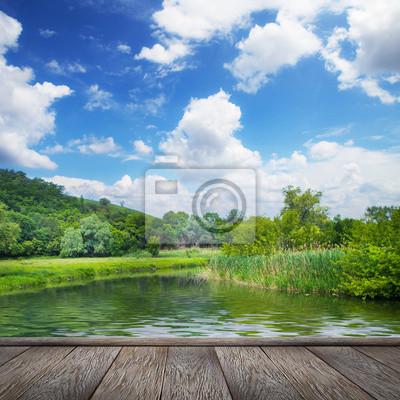 lato, krajobraz, rzeki i błękitne niebo