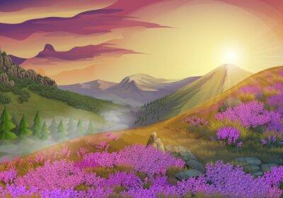 Obraz Lawenda, letni wieczór krajobraz, tło wektor