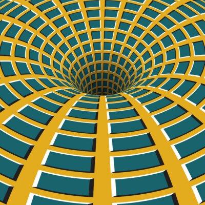 Obraz Lejek kratkę. Obracanie dziurę. Motley ruchomego tła. Optyczny ilustracji złudzenie.