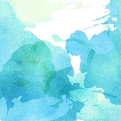 Obraz Lekkie streszczenie niebieski, zielony malowane akwarela odpryskami tło