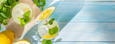 Obraz Lemonade and ingredients on blue wood background, copy space