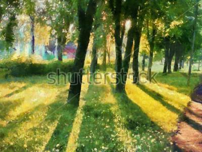 Obraz Letni krajobraz. Drzewa w parku, cień na trawie. Akwarela. Do drukowania na ceramice i tkaninach.