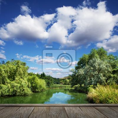 letni krajobraz, rzeki i błękitne niebo