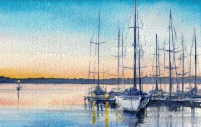 Obraz Letni krajobraz z żaglówek w zatoce.