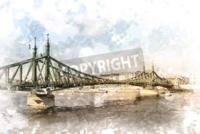 Obraz Liberty Bridge w Budapeszcie na Węgrzech. Turystyczny fotografia przeznaczenia z sityscape i rzeki.