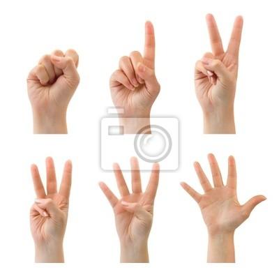 Liczenie ręce kobiety (0 do 5) samodzielnie na białym tle