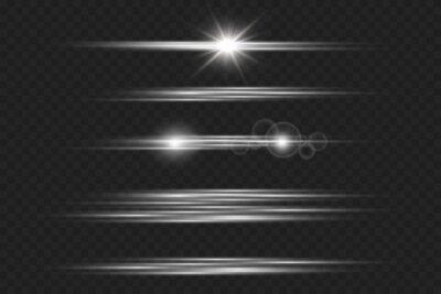 Obraz Light and stripes moving fast over dark background.design of the light effect. PNG. Set. Vector illustration