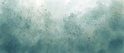Obraz light sea green sky gradient watercolor background with clouds texture