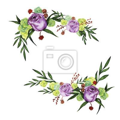 Lilac i żółte róże z liśćmi zielonych liści i suchych kwiatów malowane przez akwarelę. Projekt ślubny. Elementy zaproszenia lub karty okolicznościowe. Ręcznie rysowane ilustracji wektorowych.
