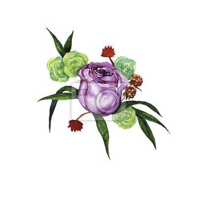 Liliowe i żółte róże z zielonymi liśćmi i suchych kwiatów skład malującym akwarelą. Projekt ślubu. Elementy zaproszenia lub karty z pozdrowieniami. Ręcznie rysowane ilustracji.