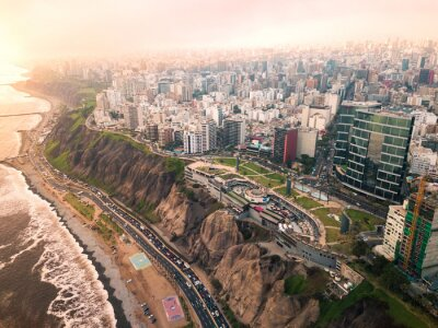 Obraz LIMA, PERU - December,12, 2018: Aerial of buildings of downtown Miraflores in Lima
