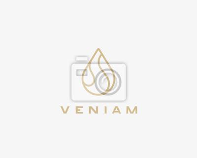 Obraz Linear wodne logo projektu. Logo kropli wody.
