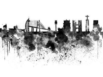 Obraz Lisbon skyline czarnym tle akwareli