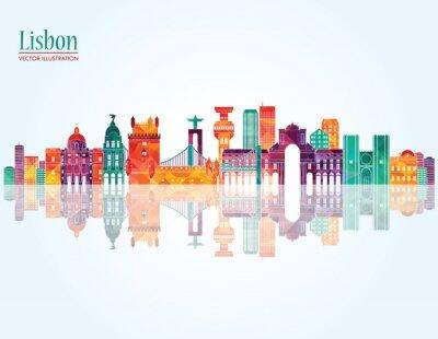 Obraz Lisbon skyline. ilustracji wektorowych