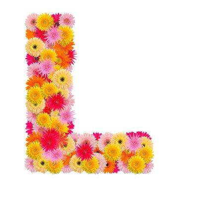 Obraz Litera L alfabet z Gerbera na białym tle