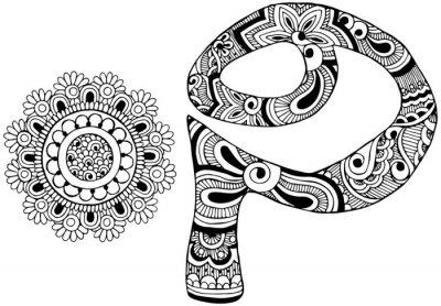 Obraz Litera P urządzone w stylu Mehndi