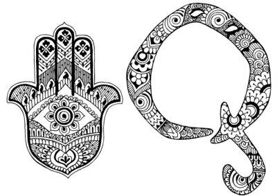 Obraz Litera Q urządzone w stylu Mehndi