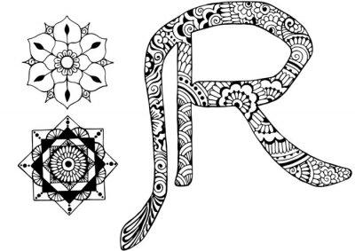 Obraz Litera R urządzone w stylu Mehndi