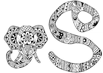 Obraz Litera S urządzone w stylu Mehndi