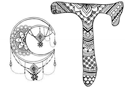 Obraz Litera T urządzone w stylu Mehndi