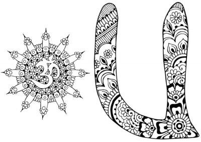 Obraz Litera U urządzone w stylu Mehndi